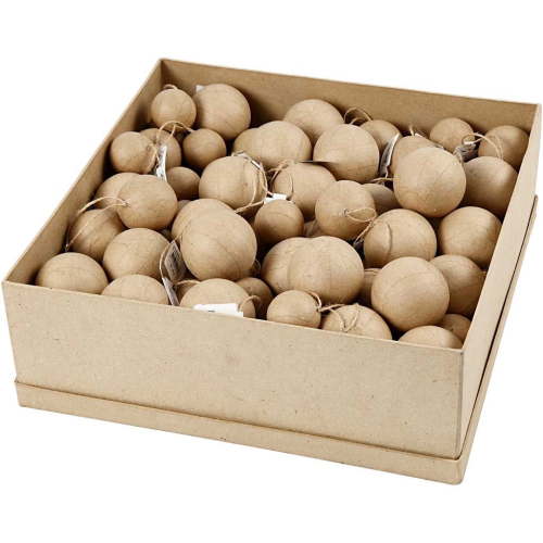 Box of paper mache baubles. approximately 100 pieces