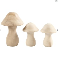 set of 3 small wooden toadstools