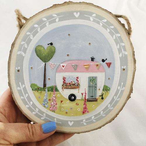 tree slice painting - caravan, pink roof