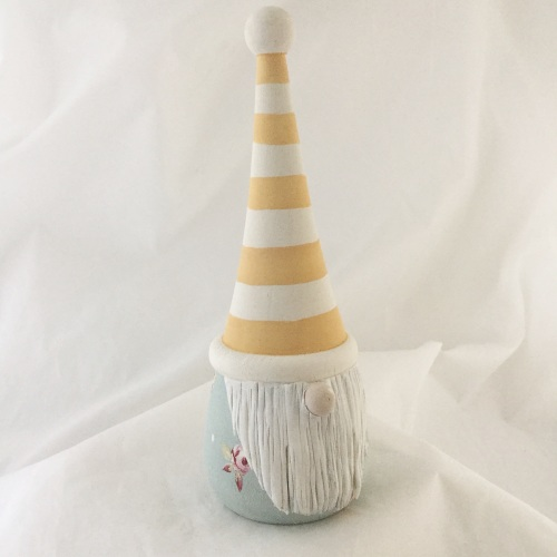 Tomte/ gnome/ gonk  - yellow stripe hat, duck egg rose body
