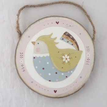 Folk bird - duck egg and green with pink border