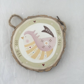 Folk bird - yellow and pink with green border #2
