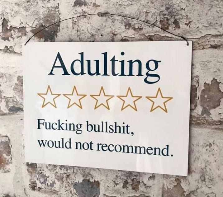 Adulting review Sign