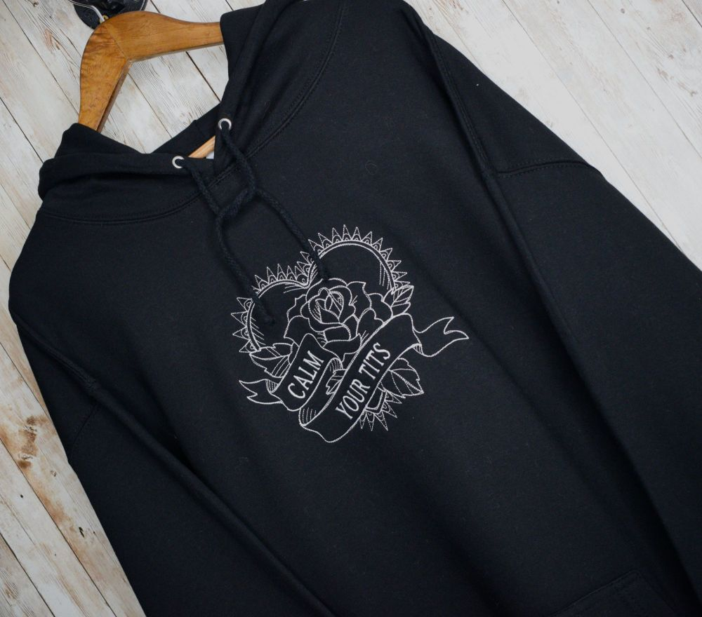 Calm Your Tits Embroidered Black Hoody