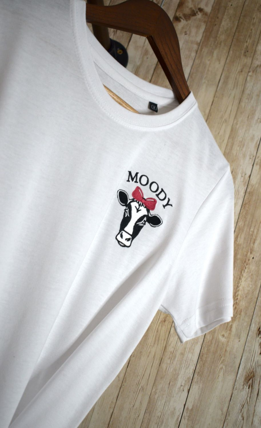 Moody Cow Embroidered T shirt