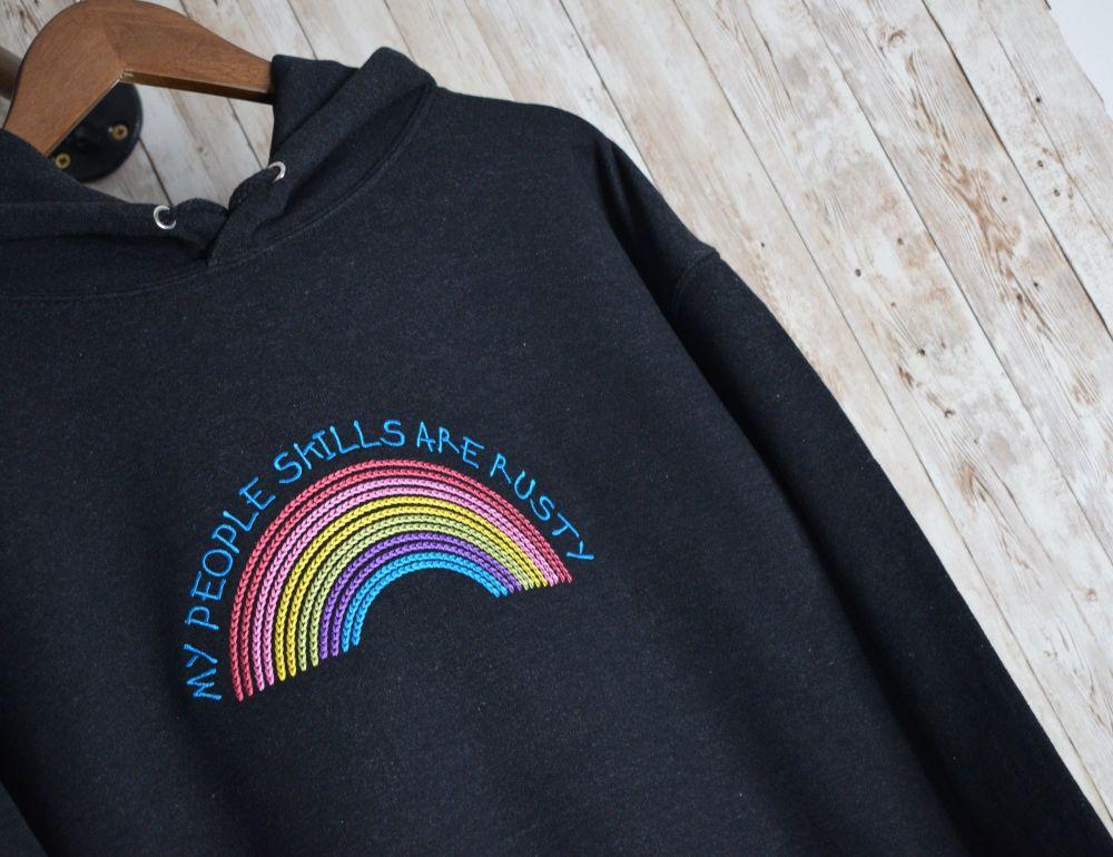 My People Skills Are Rusty Rainbow Embroidered Hoody