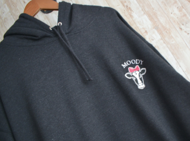 Moody Cow Embroidered Black Hoody