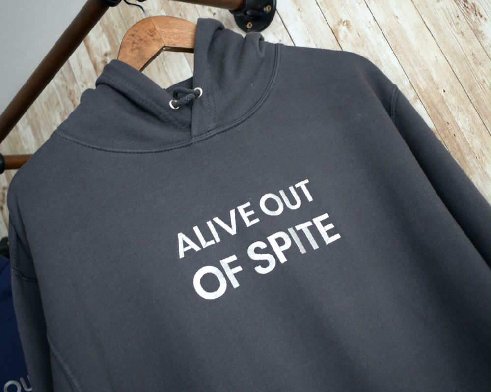 Alive out of Spite Embroidered Black Hoody