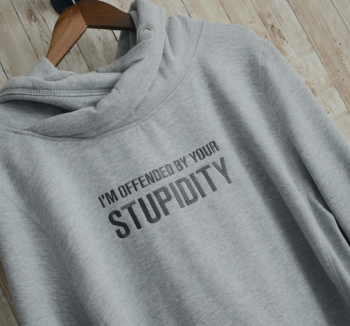 I'm Offended By Your Stupidity Cross Neck Embroidered Hoody