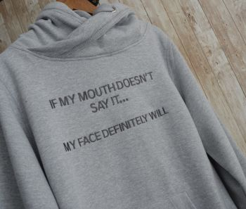 If My Mouth Doesn't Say it Cross Neck Embroidered Hoody