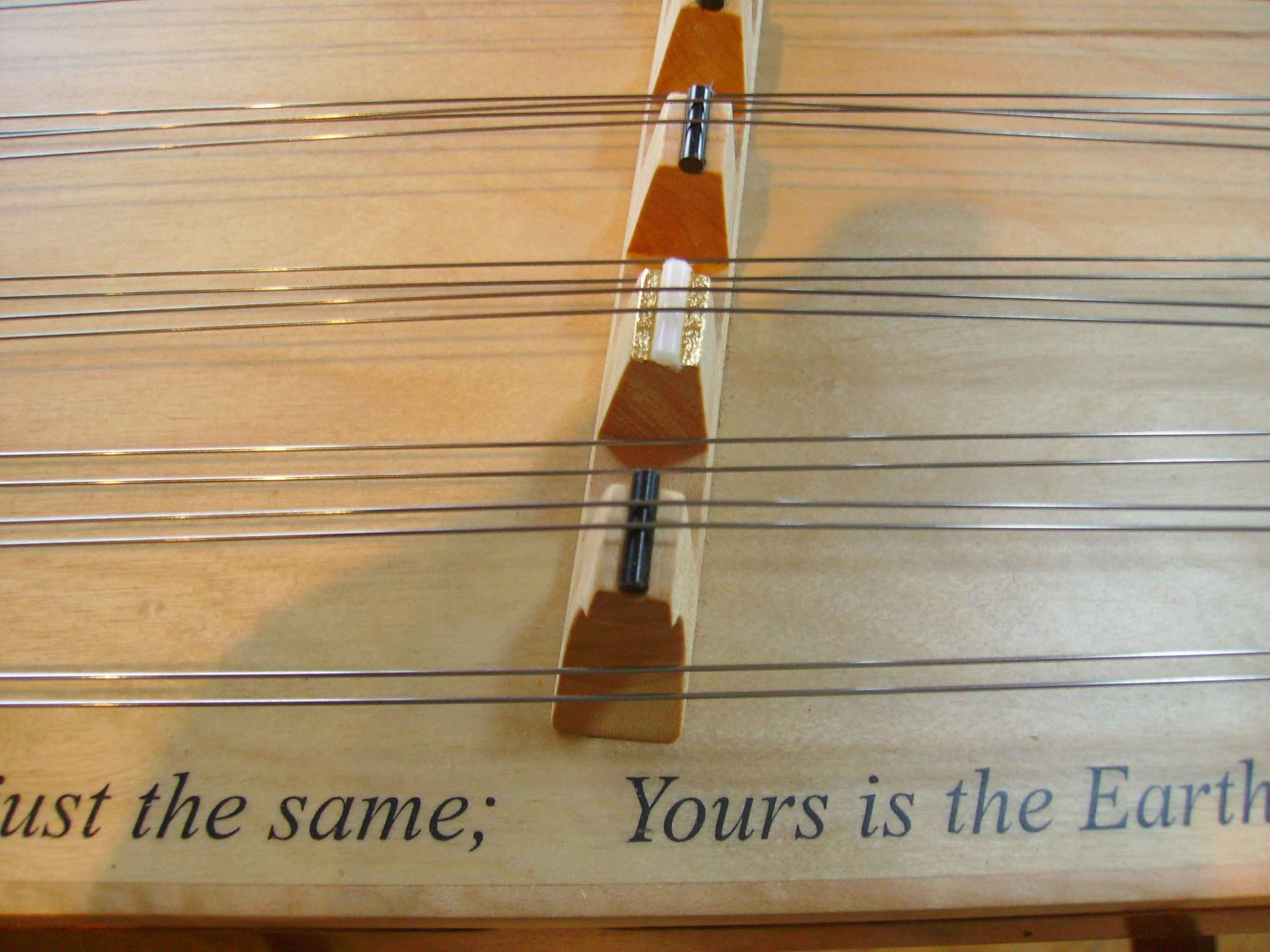 Dulcimer with text by Tim Manning