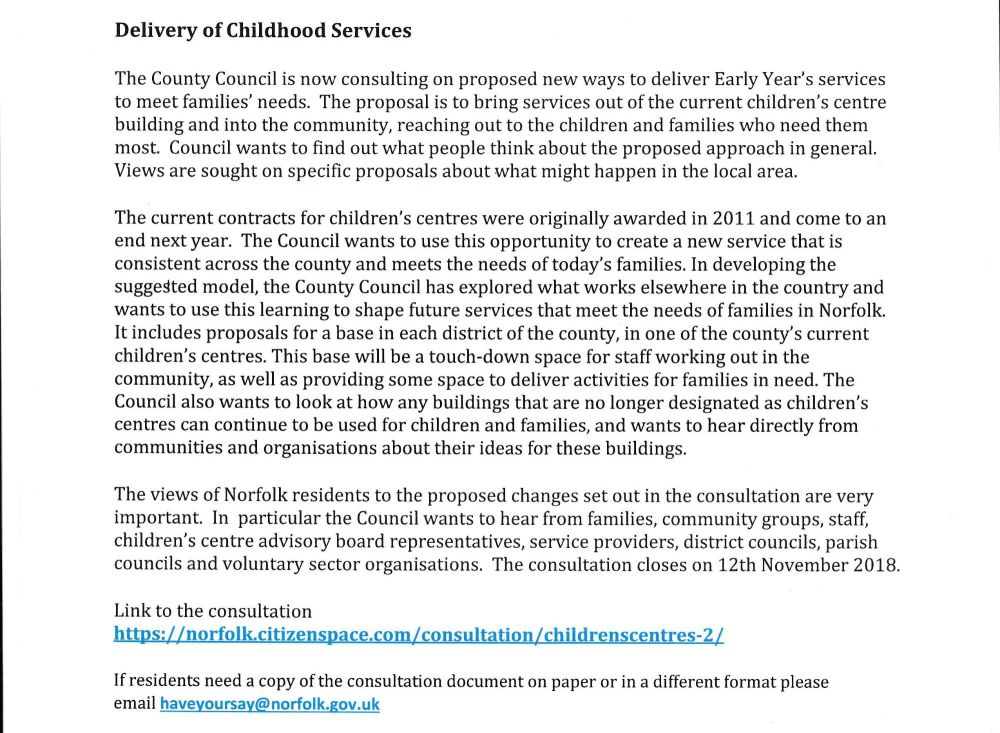 Delivery of Childhood Services