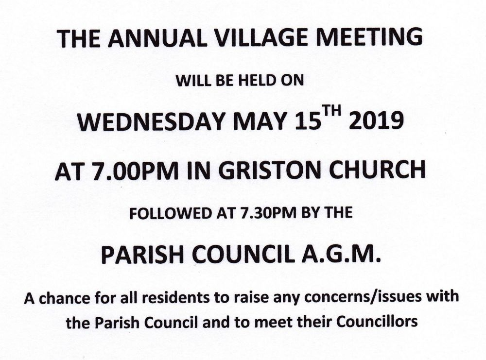 Annual Village Meeting and AGM 2019 poster no logo