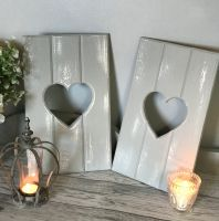 Handmade Reversible Mini Heart Cut Out Shutters - Grey