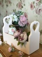 Handmade Large Trug With Heart Cut Out Handles - Pink