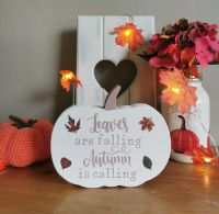 Handmade Wooden Pumpkin Block - Leaves Are Falling