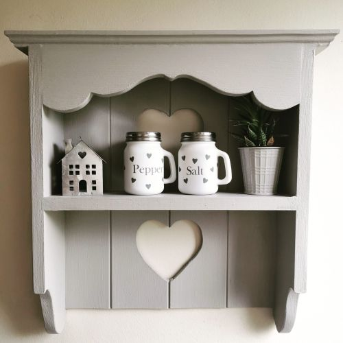 Handmade Heart Cut Out Shelves - Grey -  *PREORDER for dispatch on or befor