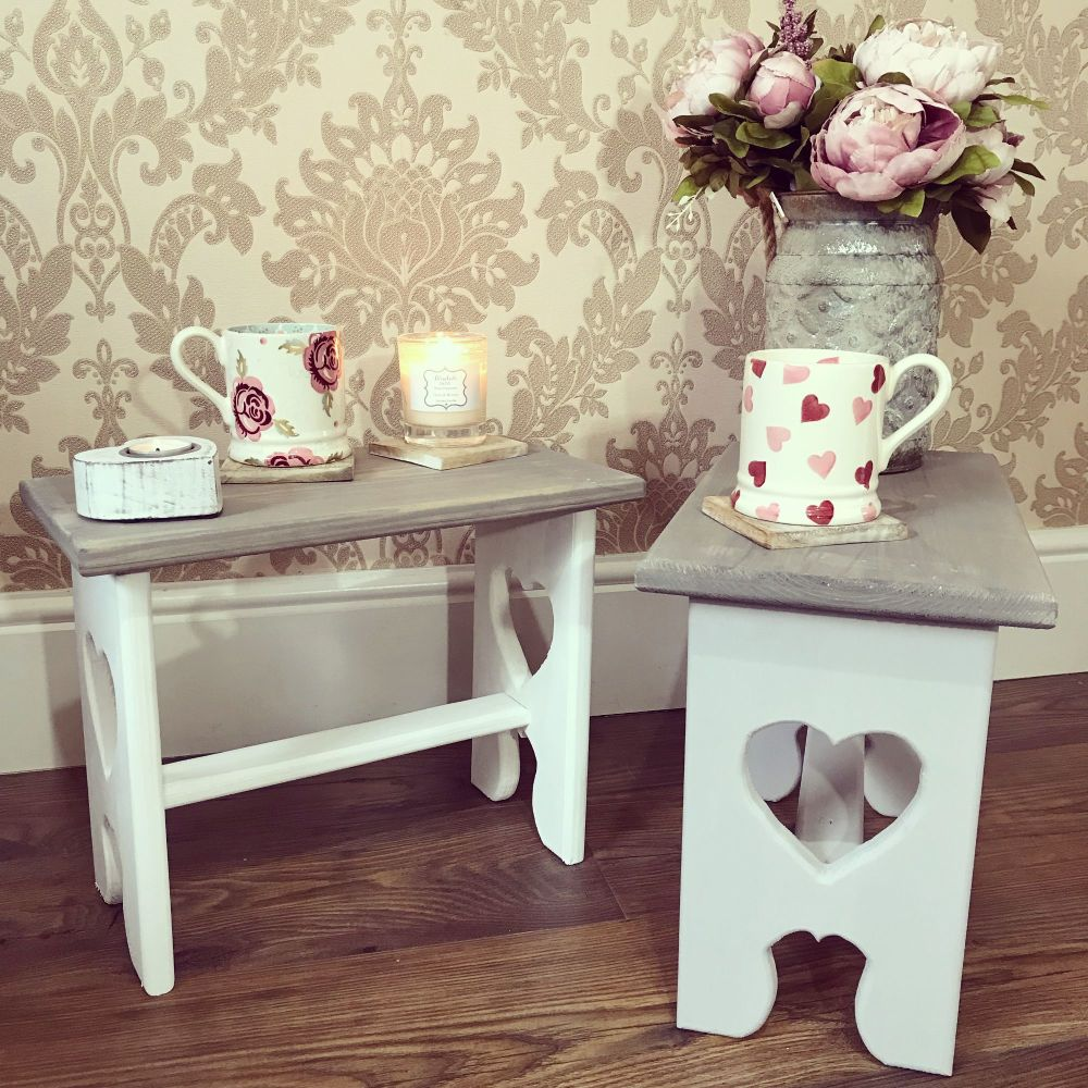 *PRE-ORDER* Handmade Heart Cut Out Stool/Table - Choice Of Colours ❤️
