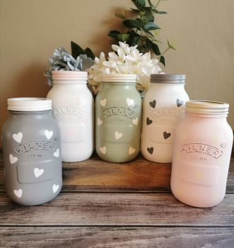Polka Hearts Jar - Choice Of Colours ❤️
