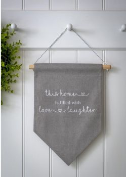 Love And Laughter Fabric Sign