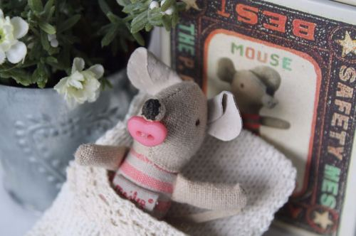 Maileg, baby girl mouse in box