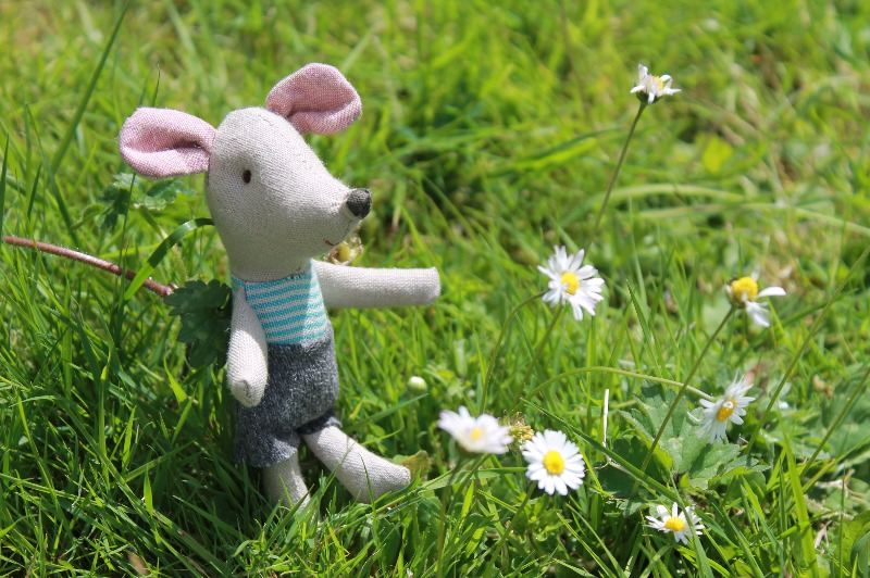 Maileg little brother mouse in garden