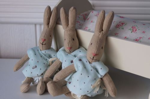 Maileg, Micro Rabbit with Blue Cardigan