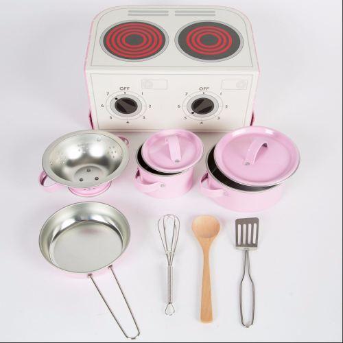 Kids Kitchen Cooking Box Set Pastel Pink