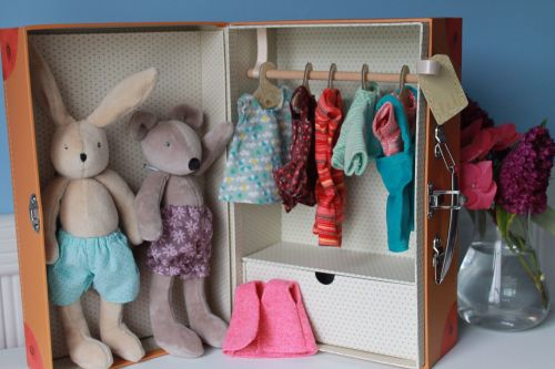 Moulin Roty, Little Bunny and Mouse Wardrobe Suitcase
