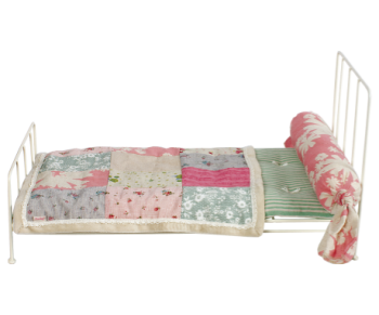 Maileg, Off White Metal Bed with Bedding (Medium)