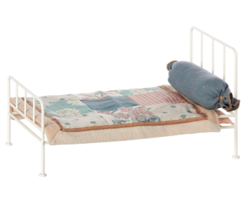 Maileg, mini metal off white bed