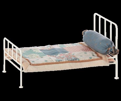 Maileg, mini metal off white bed