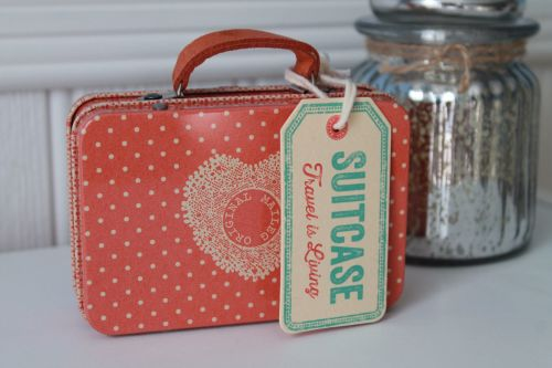 Maileg, Metal Suitcase - Peach small dots
