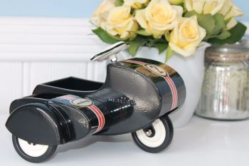 Maileg, Black Scooter W/Sidecar (Metal)