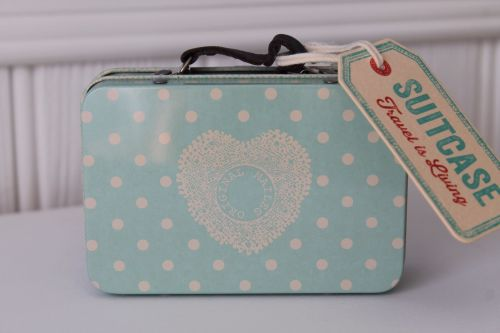 Maileg, Suitcase Dusty Blue with Big Dots