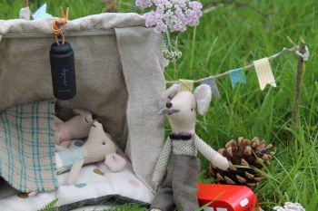 Maileg mice in tent