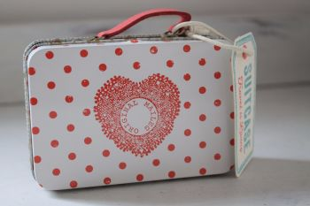 Maileg, Cream Suitcase with Red Dots