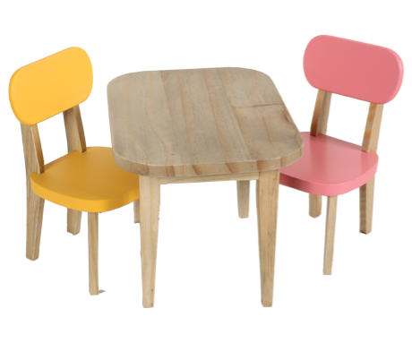Maileg, Wooden Table with pink and yellow chairs