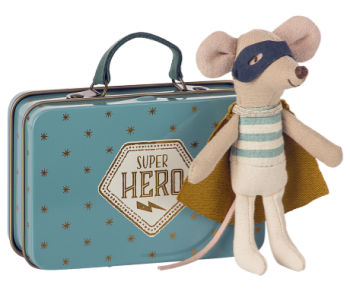 Maileg, Super Hero Little Brother Mouse in Suitcase