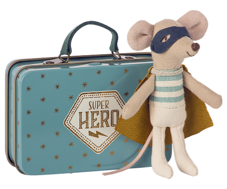 Maileg, Super Hero Mouse in Suitcase APRIL