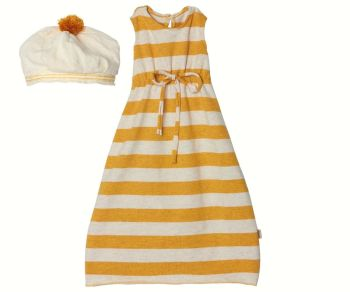 Maileg, Mega Maxi Yellow Stripped Dress with Hat