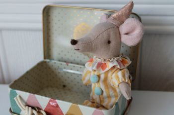 Maileg, Circus Clown Mouse in a Suitcase *ON ORDER*