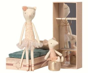 Maileg, Dancing Cat & Mouse in Shoebox