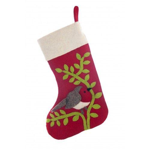 Fiona Walker, 30cm Mistletoe/Robin Stocking