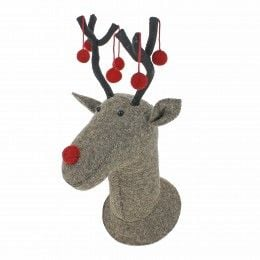 Fiona Walker, Grey Reindeer Head with Red Pom Pom Antlers