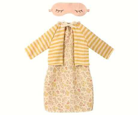 Maileg, Medium Mouse Yellow Floral Dress Set