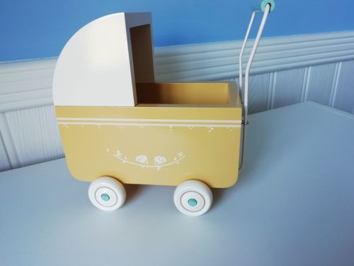 Maileg, Micro Yellow Pram - Marks to paintwork on all four wheels