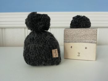 Maileg, Knitted hat with Pom Pom Hat, Anthracite (last one)
