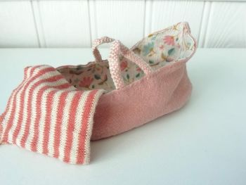Maileg,  Carry Cot, for MY and Baby Mouse, Misty Rose (Darker)