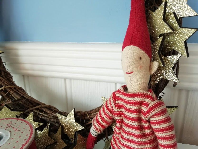 Maileg, Climbing Pixy Boy in Red Stripy Jumper & Socks